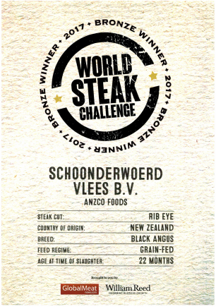 August 2017 World steak challenge - Bronze on Ocean Beef