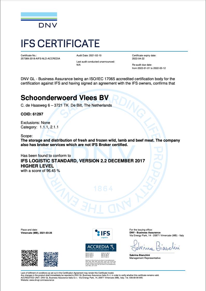 IFS Certificate 2021